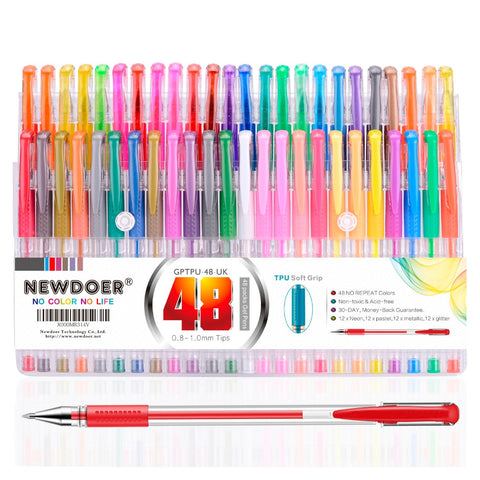 48 Color TPU Grip Unique Colors Gel Pens Mudder Glitter Gel Pens Set for Coloring Book Drawing, Coloring, Doodling and Sketching