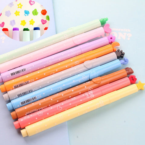 DIY Cute Watercolor Pen Cartoon Colorful Markers With Stamps For Kids Drawing Manga Painting Kawaii Stationery Art Supplies