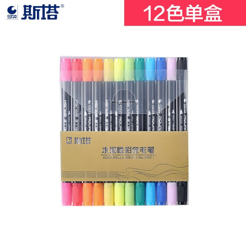 STA 80Colors Water Based Ink Sketch Marker Pens Twin Tip Fine Brush Marker Pen Manga Art Supplies
