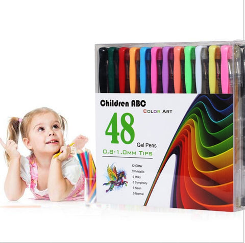 Smart 48 Gel Pens set, Color gel pens Glitter Metallic pens Good gift For Coloring, Kids, Sketching, Painting, Drawing