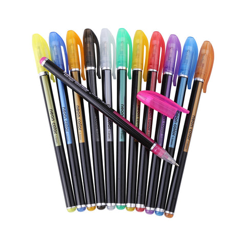 12 Different Colors Glitter Gel Pen Set Colorful Highlighter Drawing Painting Marker Stationery