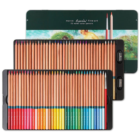 Marco 3120 Professional Level Water Color Set 48/72 Colors Soluble Pencil For Drawing Painting + Drawing Brush