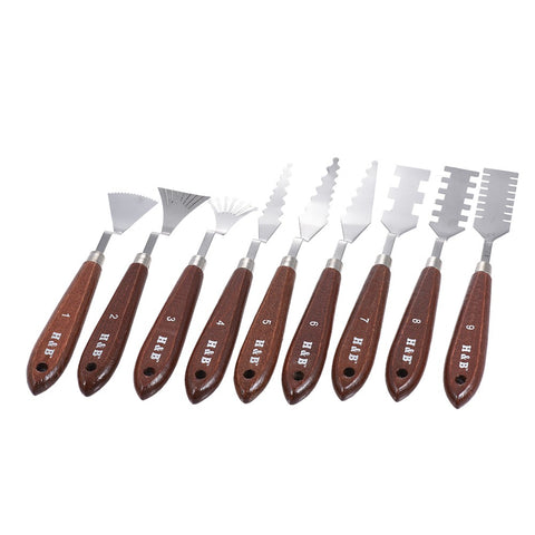 9pcs Palette Knives Painting Mixing Scrapers Spatula Art Tools Set for Oil Painting Special Effects Artist