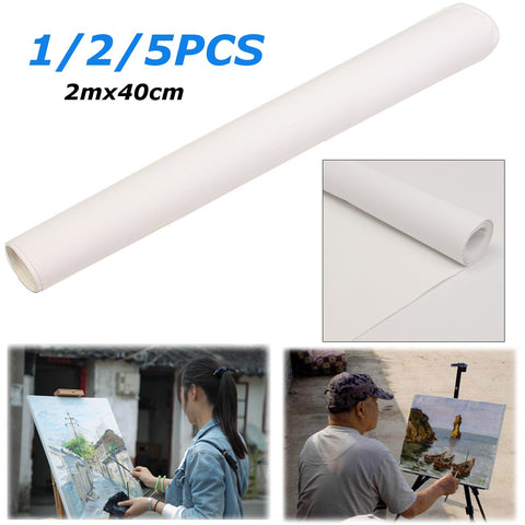 200x40cm White Blank Canvas Fabric Artist Canvas Roll Cotton Canvas For Watercolors Acrylic Oil Painting Art Painting Supplies