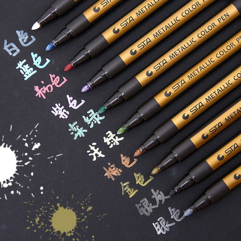 New Arrival Metallic Micron Pen Detailed Marking Color Metal Marker for Album Black Paper Srawing School Art Supplies