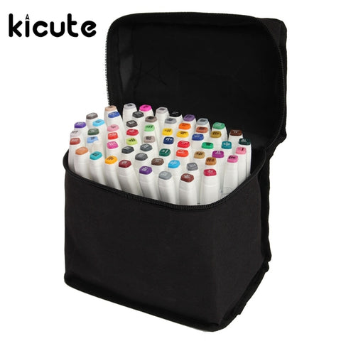 Kicute 60Colors/lot Top Quality Art Sketch Twin Marker Pens Broad Fine Point Graphic Drawing Set Office School Supplies Gifts