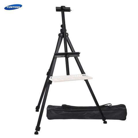 YUNTENG Art Easel Stand Aluminium Metal Tripod Adjustable Height Sturdy Easel with Palette Storage Bag for Floor/Table-Top Painting Drawing Sketching Display