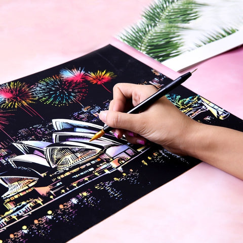 Magic Scratch Art Painting Paper Sketch Pad with Wooden Drawing Stick for Adult and Kids