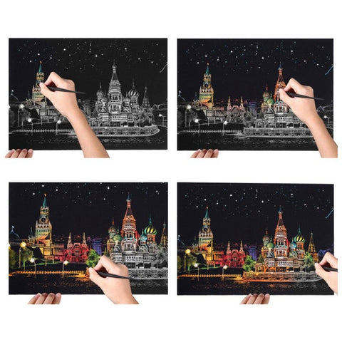 Diy Magic Scratch Art Painting Paper Sketch Pad with Wooden Drawing Stick Gift for Kids Friends Creative Paint