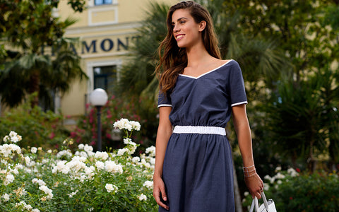 Navy Blue Cotton Summer Dress With T-Shirt Sleeves