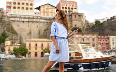 Light Blue Cotton Chambray Summer Dress With Scoop Neck