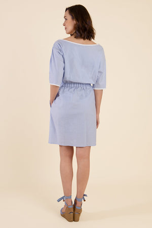 Baby Blue Summer Dress With Stripes