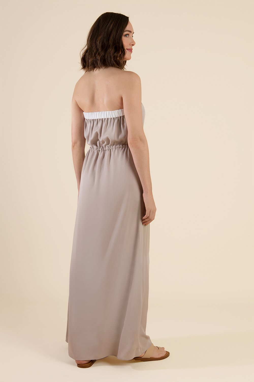 Beige Strapless Maxi Dress