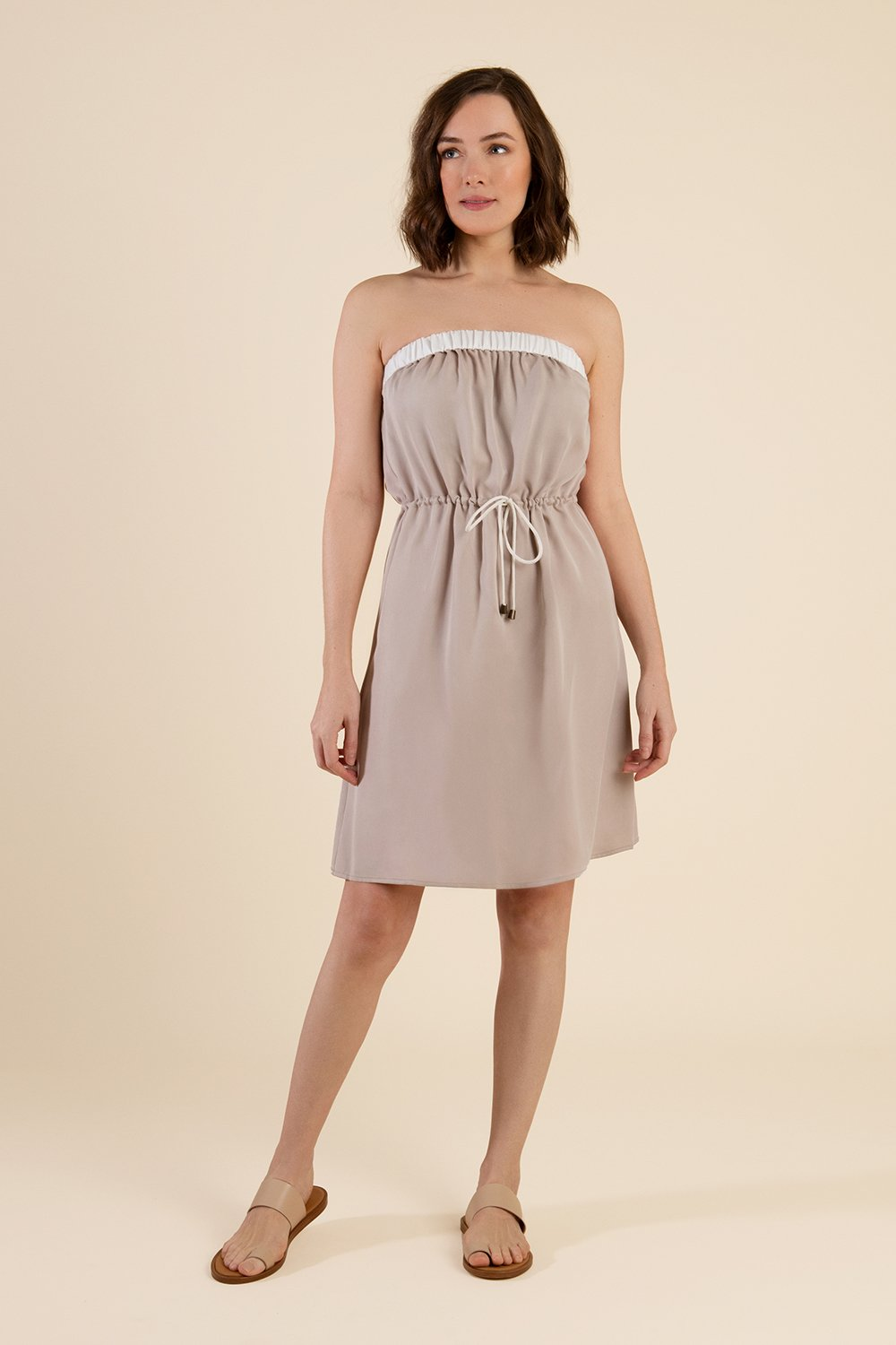 Beige Strapless Summer Dress - Cat Turner