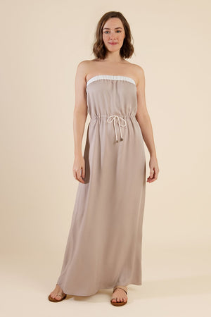 Beige Strapless Summer Maxi Dress