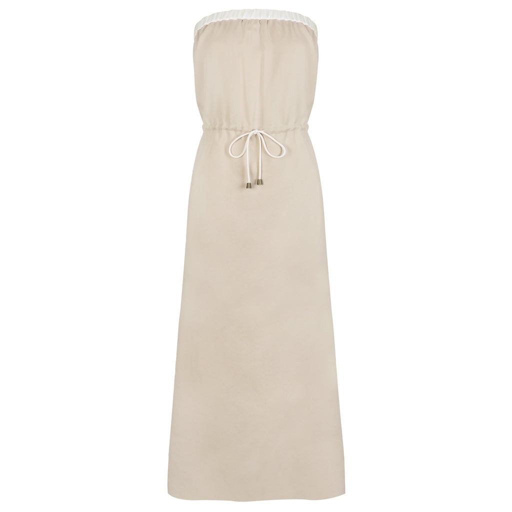 STRAPLESS SUMMER MAXI DRESS - BEIGE
