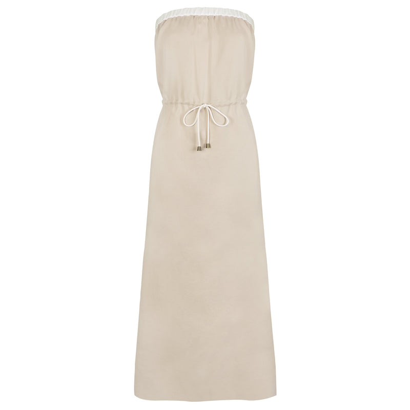 Strapless Summer Maxi Dress, Beige - Cat Turner