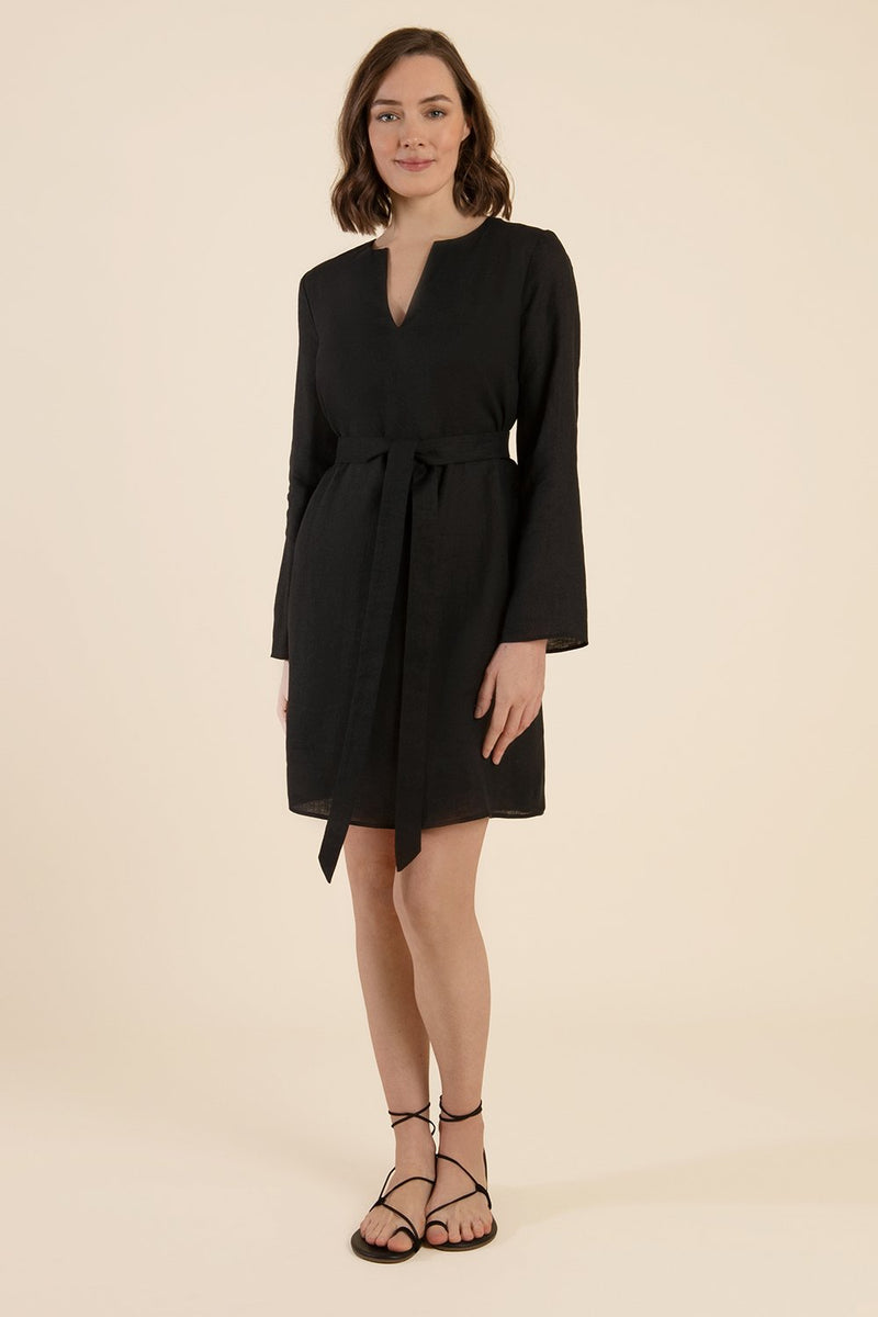Black Linen Dress With Sleeves - Cat Turner