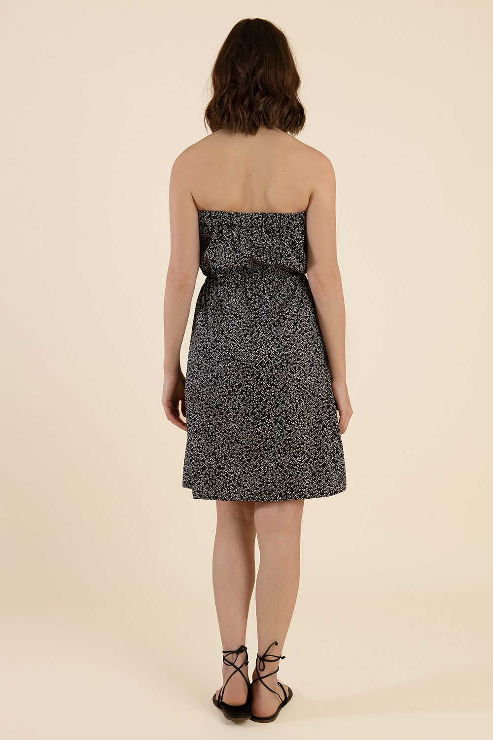 Strapless Cotton Dress  - Black - Cat Turner