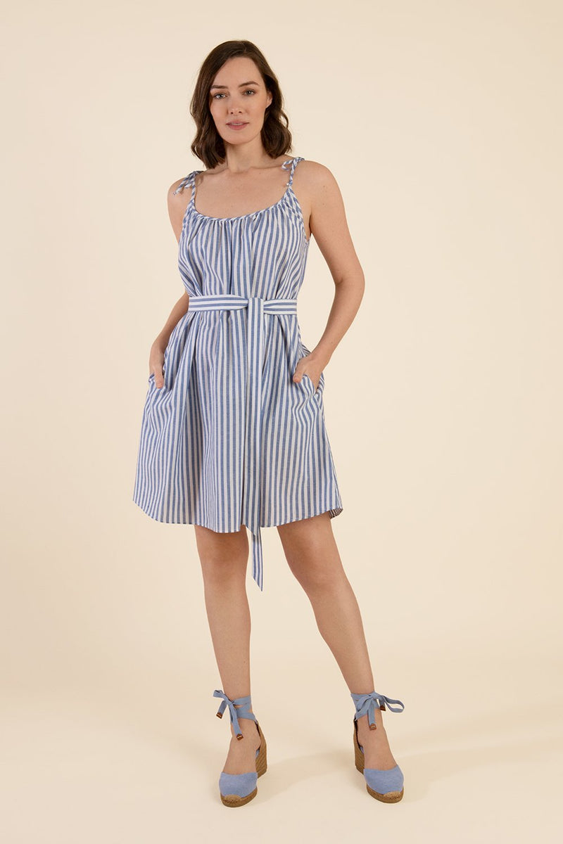 Blue And White Strappy Dress - Cat Turner
