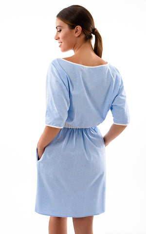 SUMMER DRESS WITH SLEEVES, COTTON-BLEND - BABY BLUE