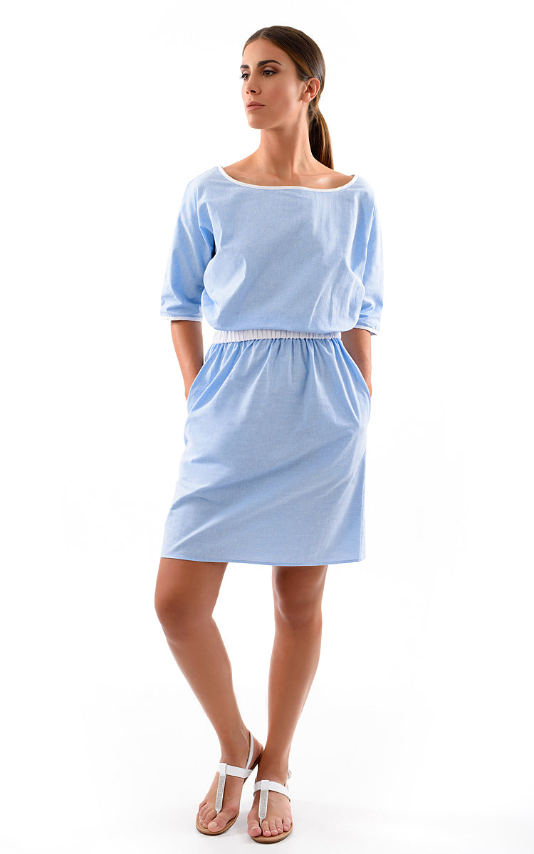 Baby Blue Dress With Sleeves