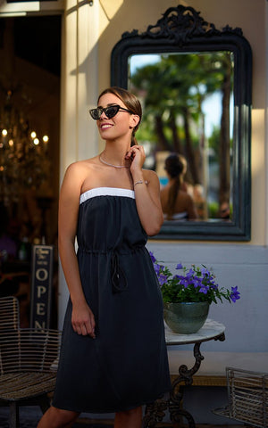 Cat Turner Amalfi Coast Strapless Summer Dress (Sorrento Photo Shoot) - Unique Blue Black Colour And White Trim