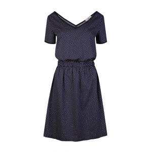 Navy Cotton Dress With Polka Dots