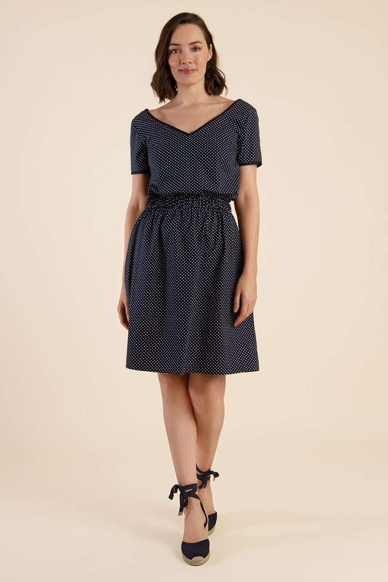 Navy Polka Dot Dress - Cat Turner