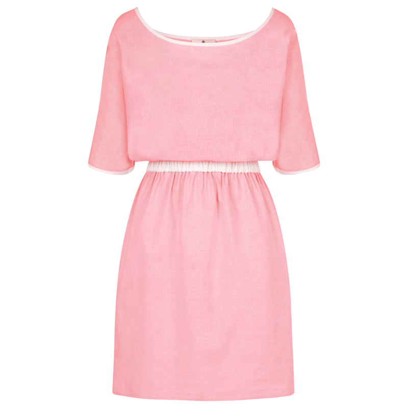 Pink Summer Dress With Sleeves