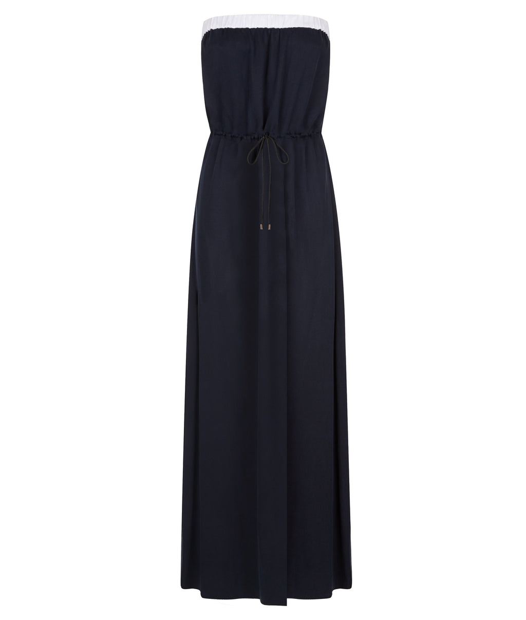 Midnight Blue Strapless Long Summer Dress