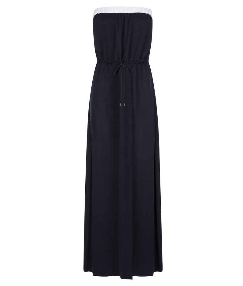 Strapless Summer Maxi Dress, Blue - Cat Turner