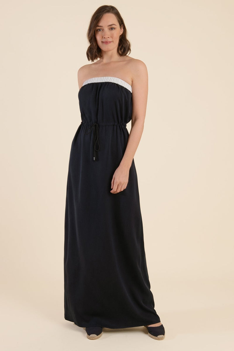 Strapless Summer Maxi Dress - Midnight Blue - Cat Turner