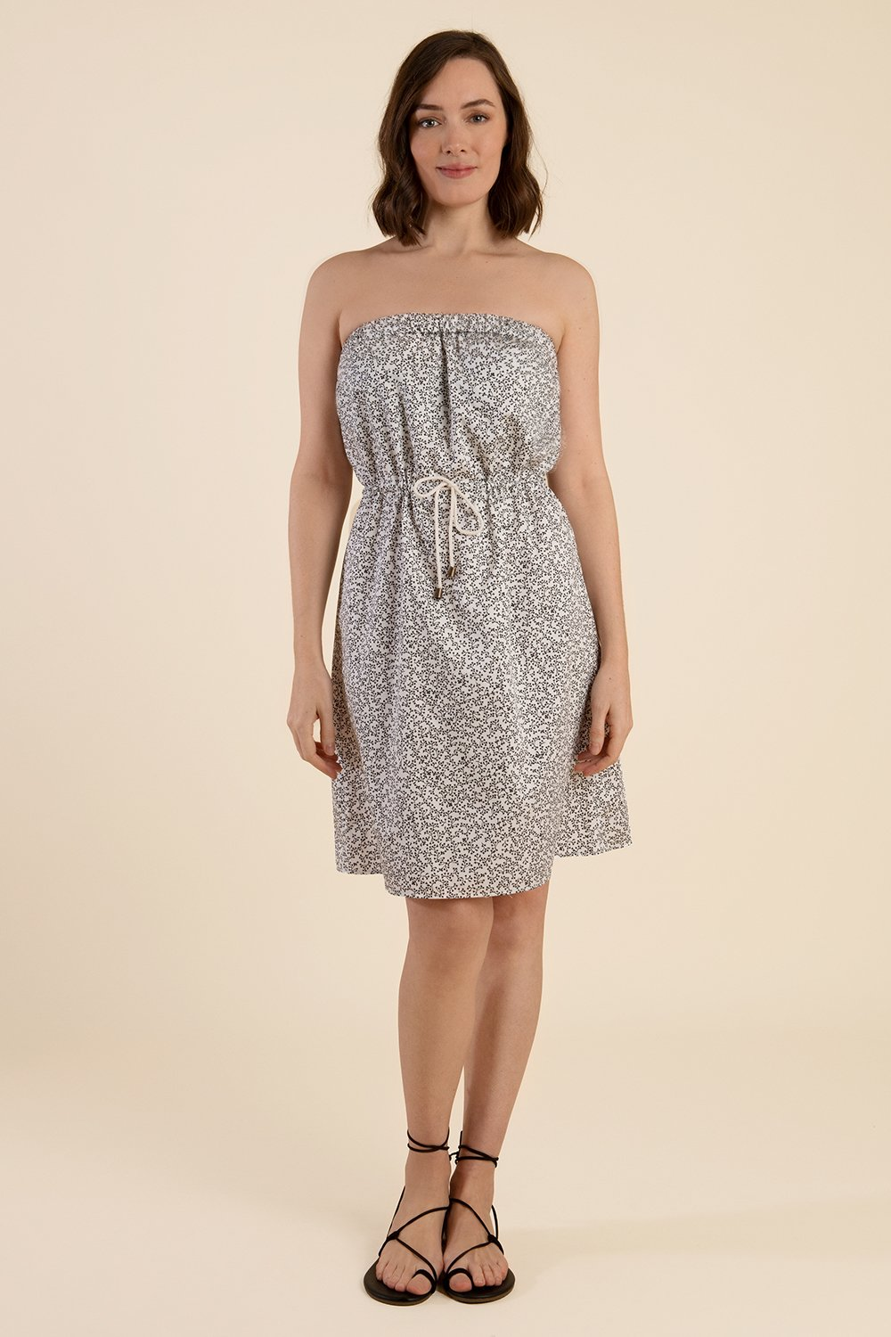 Strapless Cotton Dress  - White