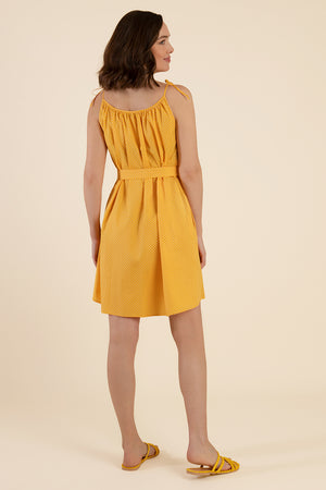 Yellow Summer Dress With Polka Dots - Cat Turner London
