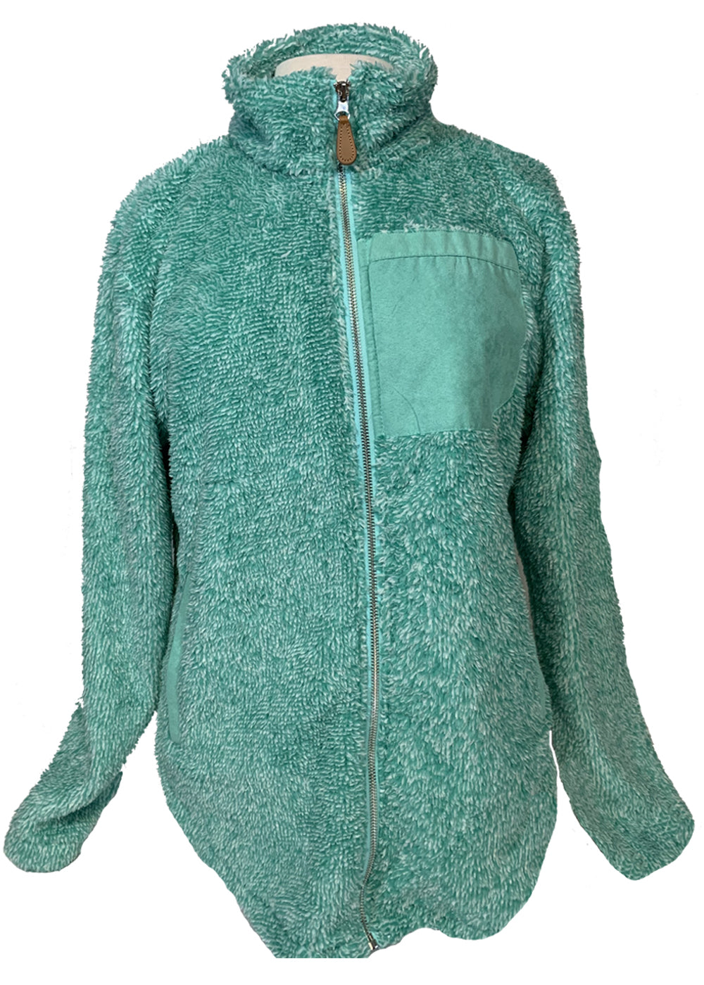Mint Full Zip Sherpa with Faux Pocket