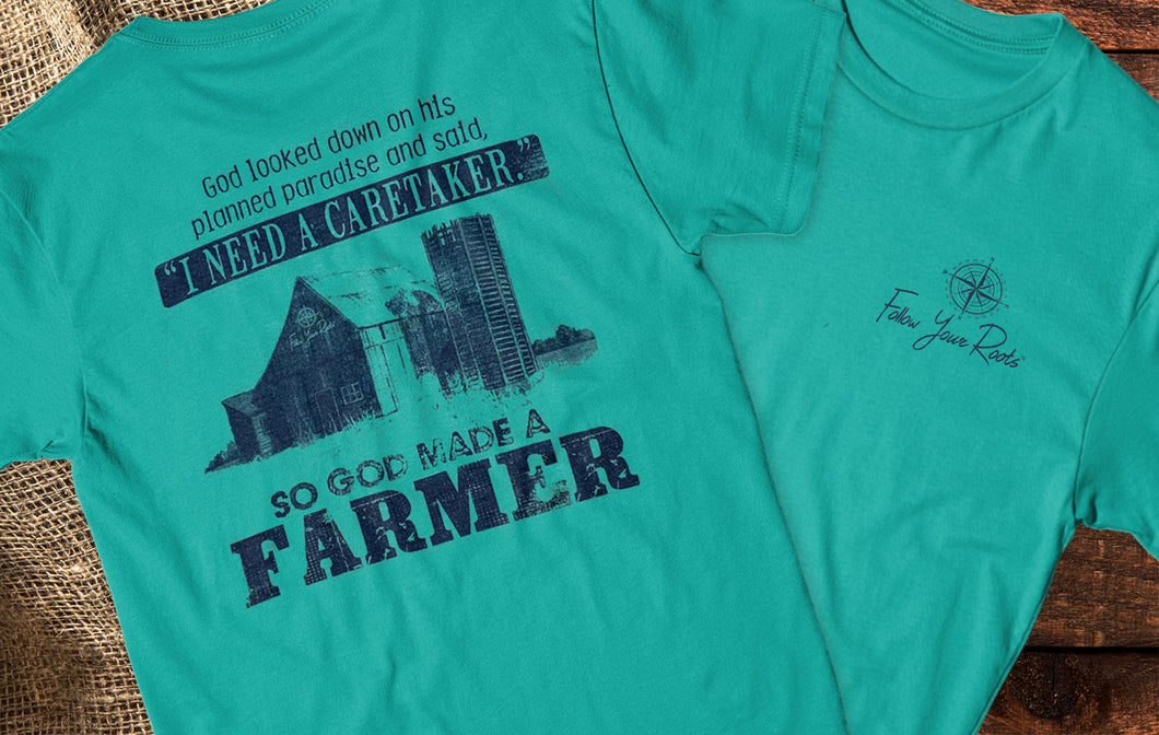 God Made A Farmer Short Sleeve Crewneck T-shirt
