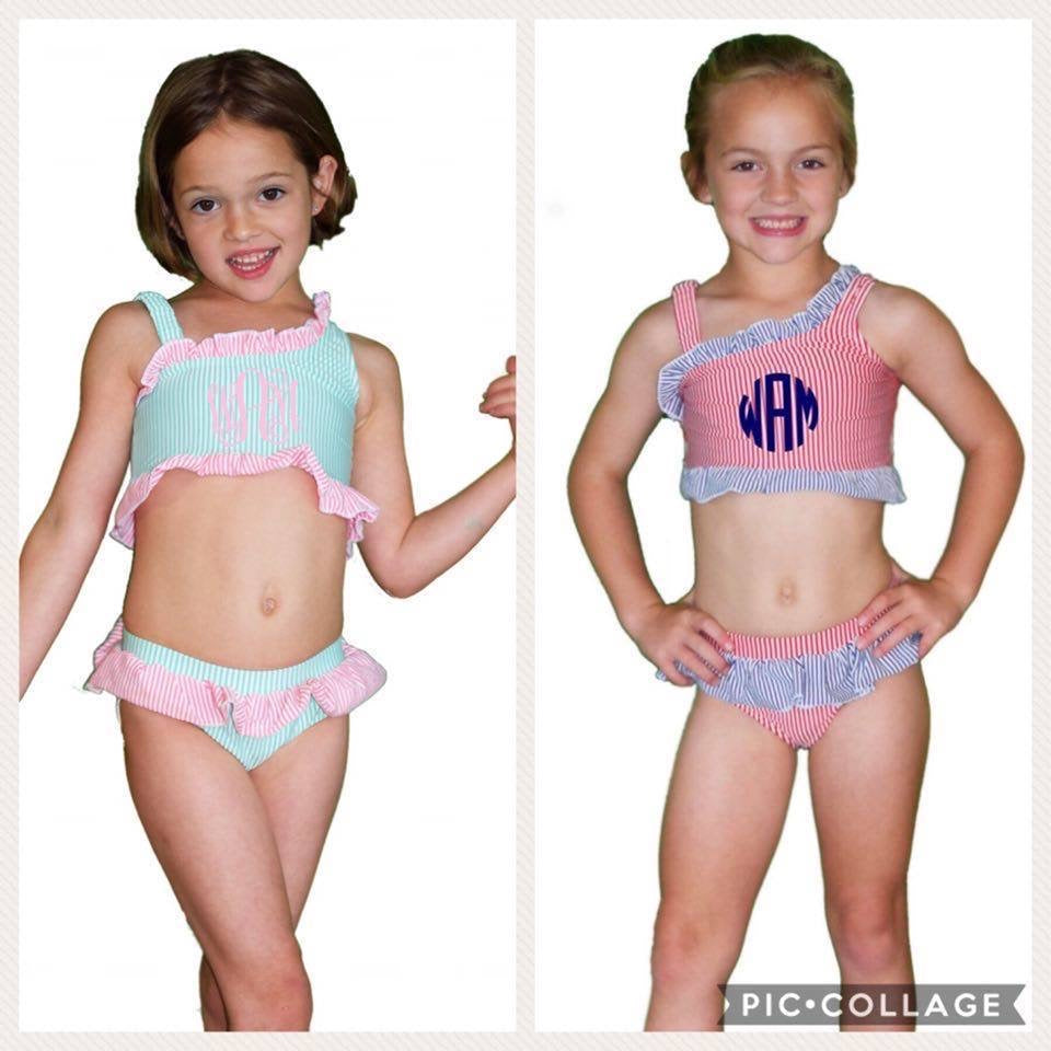 Off Shoulder Stretch Seersucker Infant & Toddler Swimsuit