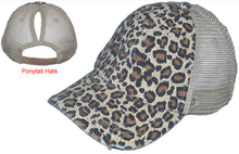 Load image into Gallery viewer, PONYTAIL DISTRESSED VINTAGE TRUCKER HATS WASHED CANVAS LEOPARD LADIES