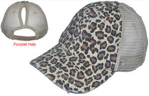 PONYTAIL DISTRESSED VINTAGE TRUCKER HATS WASHED CANVAS LEOPARD LADIES