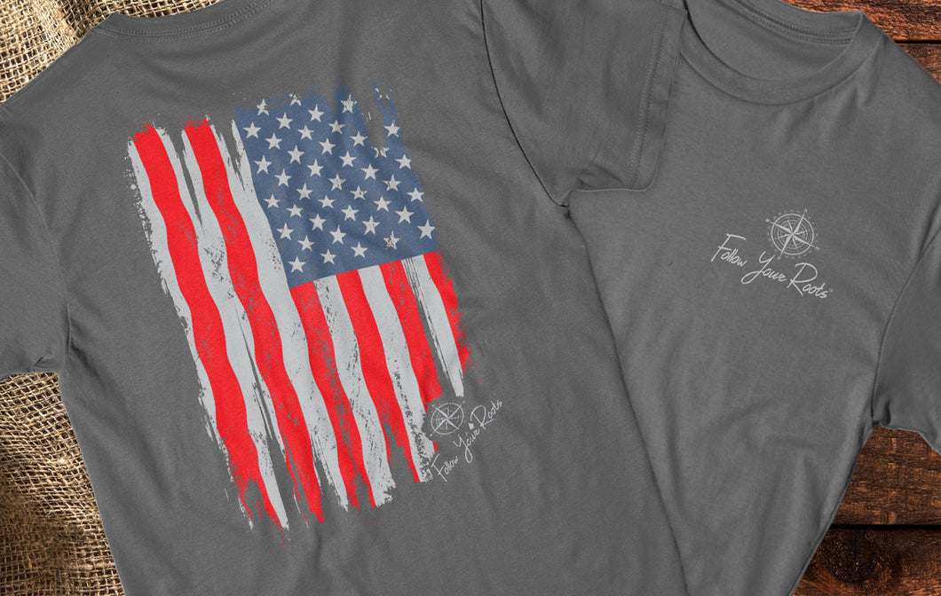 Distressed Flag Short Sleeve Crewneck T-shirt