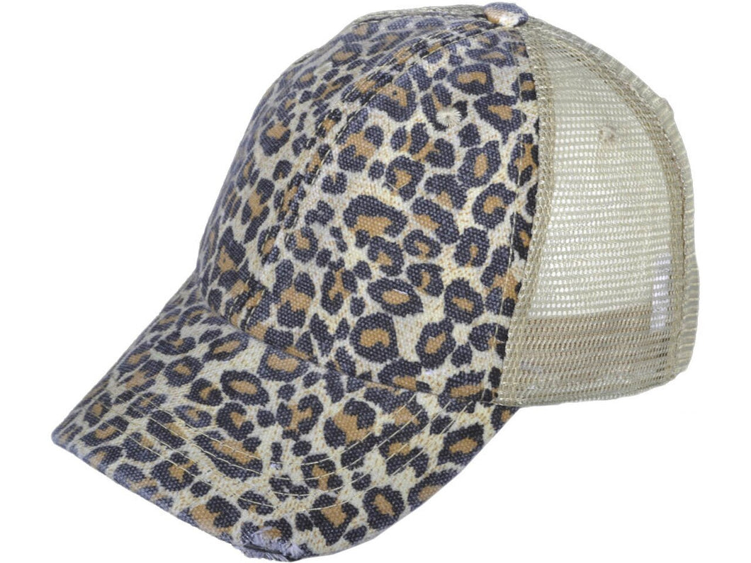 DISTRESSED VINTAGE TRUCKER HATS WASHED CANVAS LEOPARD LADIES CAPS