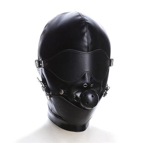 Black Mask Fetish BDSM Leather Mouth Eye Slave Hood Ball