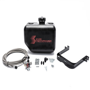 Snow Performance 2.5 Gal. Water-Methanol Tank Upgrade Braided Stainless Line (W/Brackets, Solenoid, Hose & All Necessary Fittings) (13Lx9.5Hx7.5W)