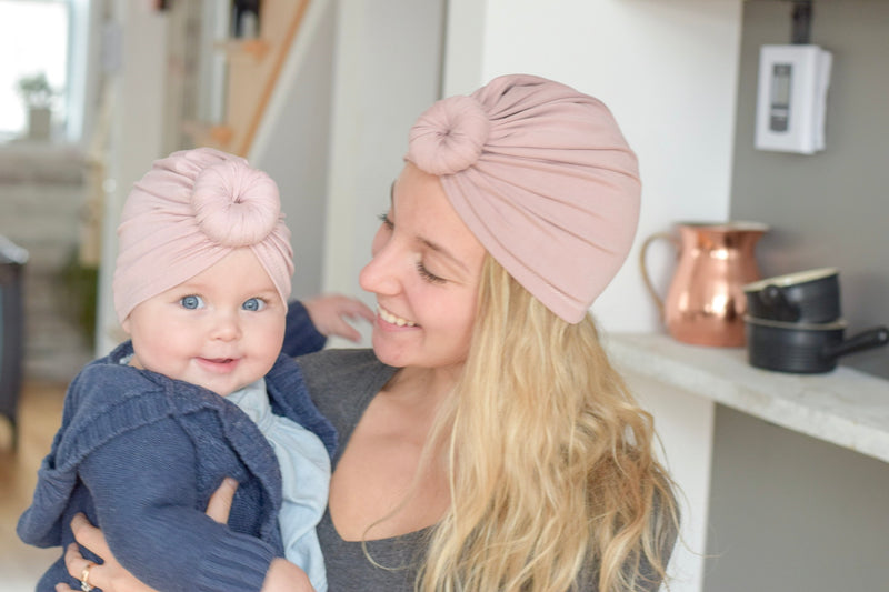 turban duo maman bebe rose blush twinning bambou