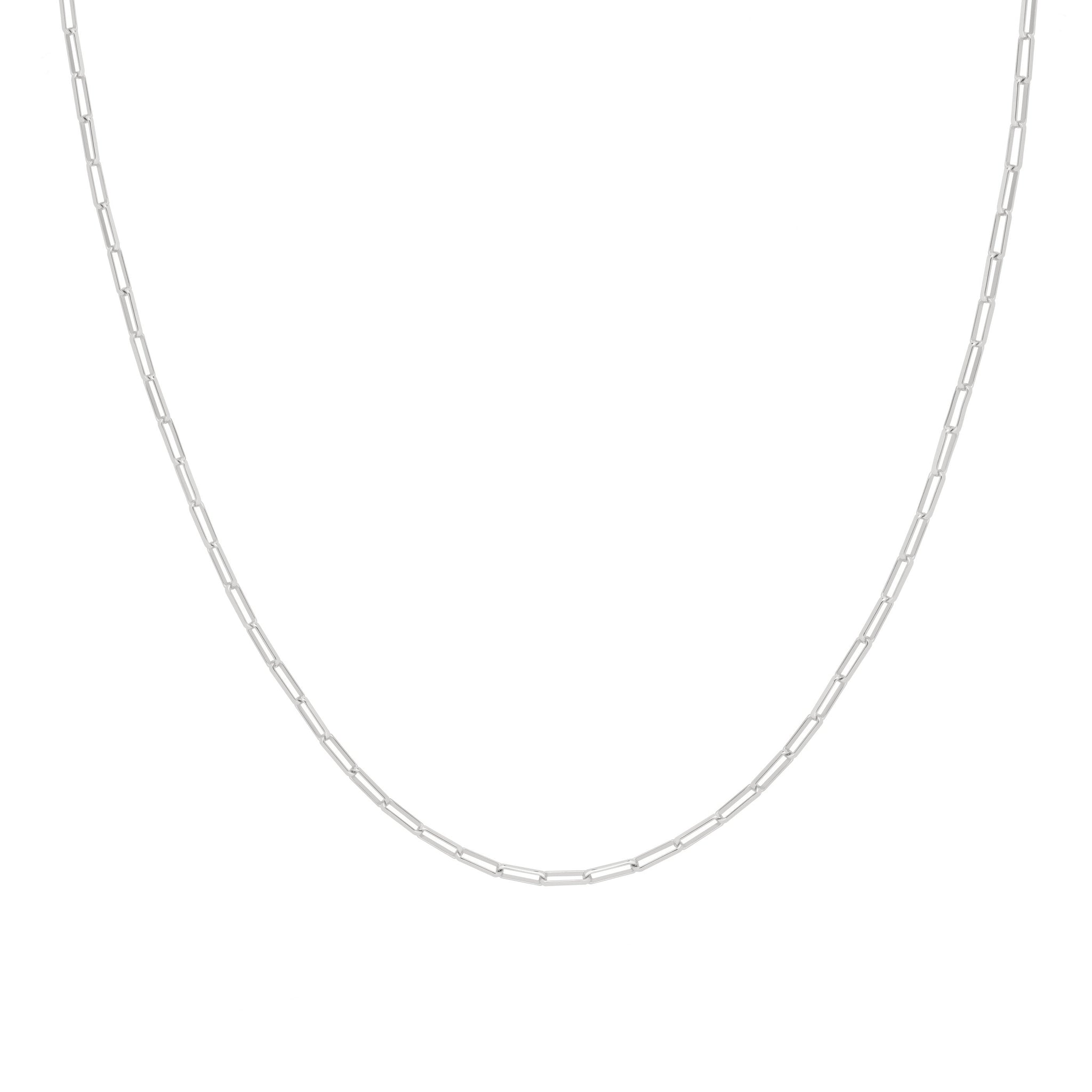 Long Link Chain Necklace in Silver