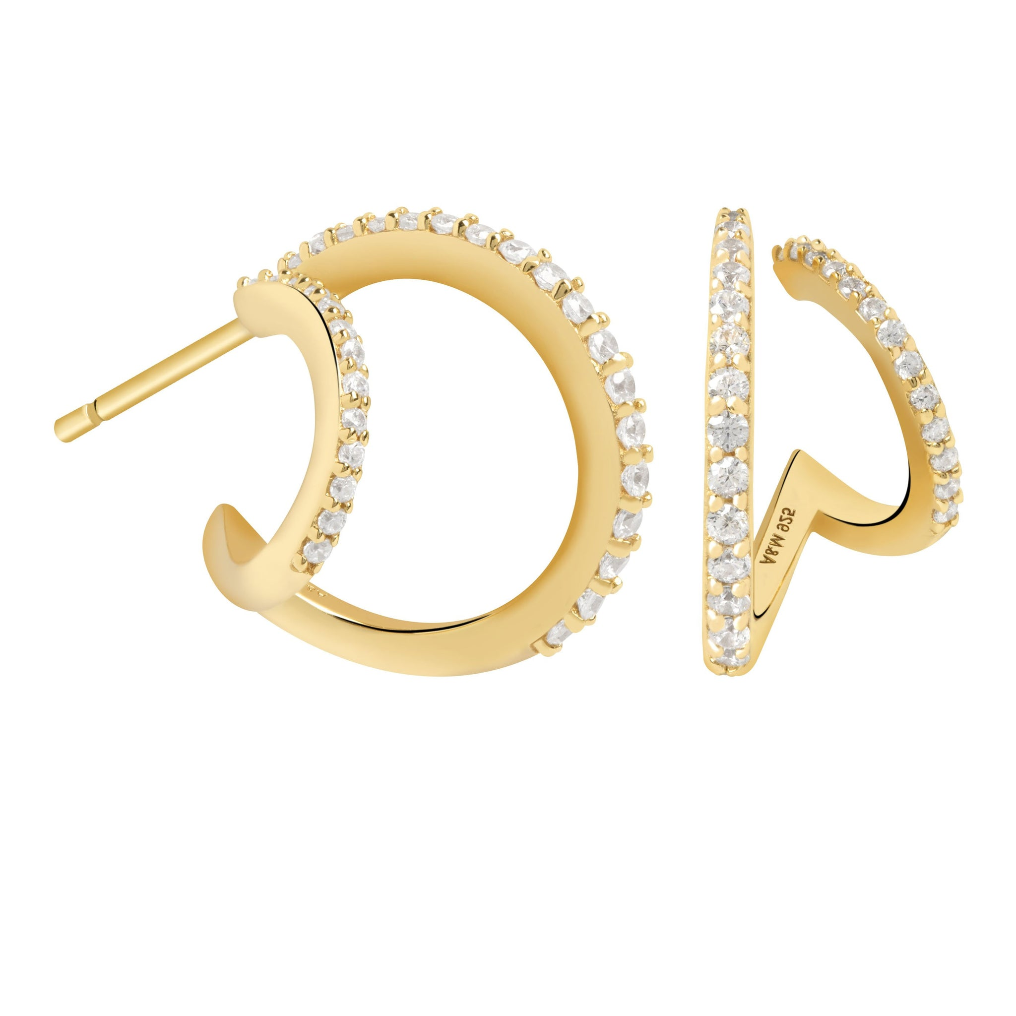 Illusion Crystal Hoops in Gold
