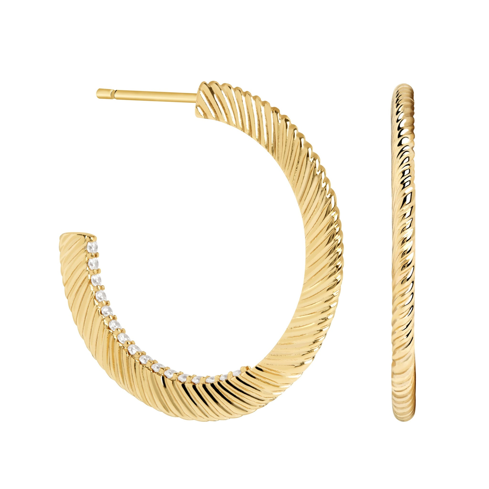 Etched Crystal Hoops in Gold