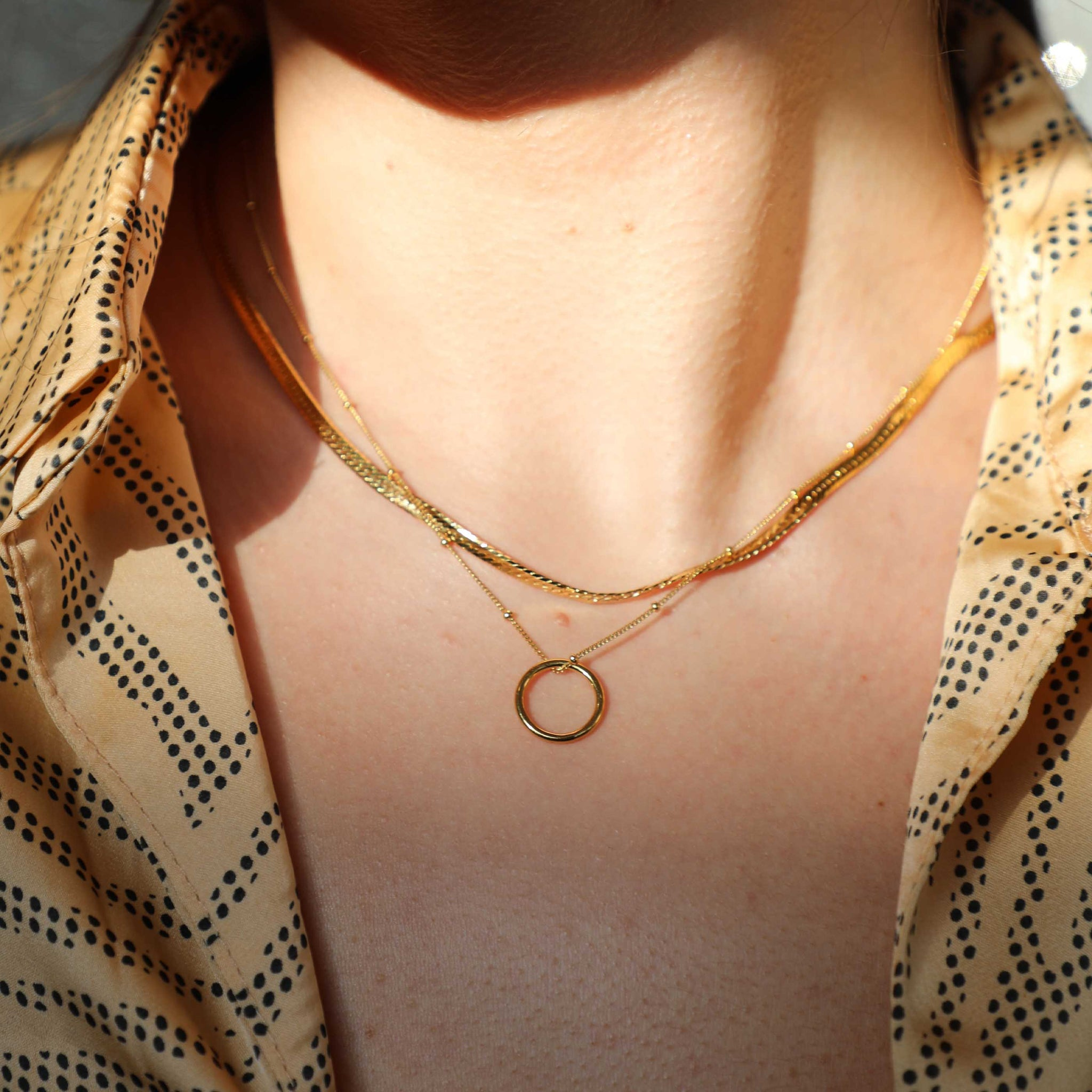 Basic Halo Pendant Necklace in Gold worn with snake chain