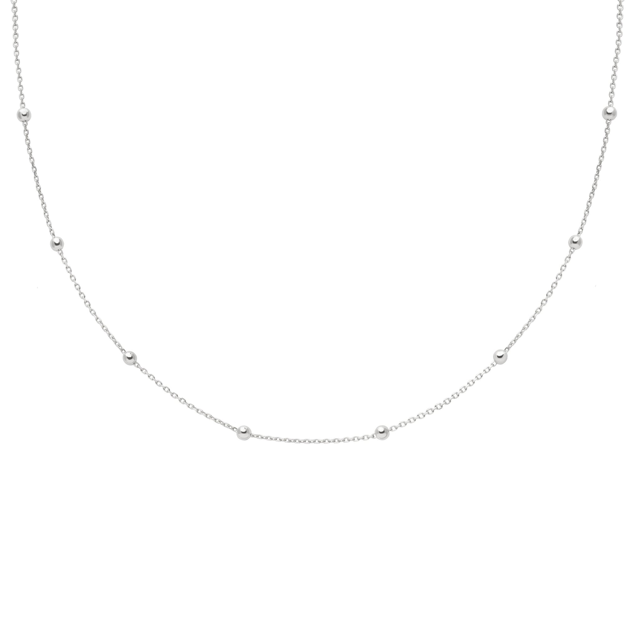 Basic Large Beaded Choker in Silver